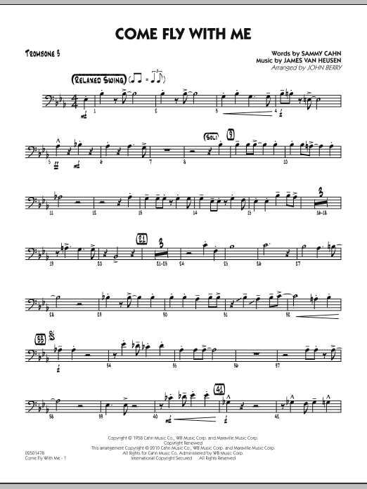 John Berry Come Fly With Me - Trombone 3 sheet music notes and chords. Download Printable PDF.