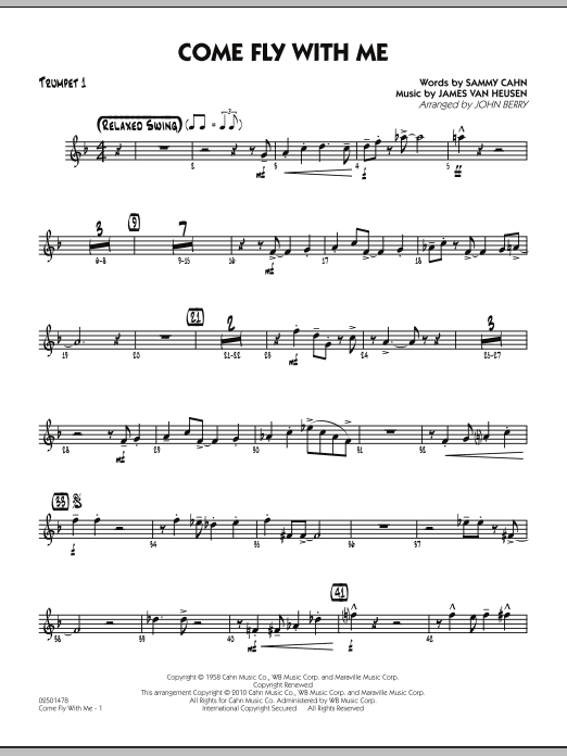 John Berry Come Fly With Me - Trumpet 1 sheet music notes and chords. Download Printable PDF.