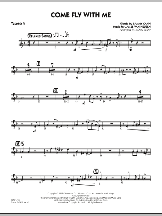 John Berry Come Fly With Me - Trumpet 3 sheet music notes and chords. Download Printable PDF.