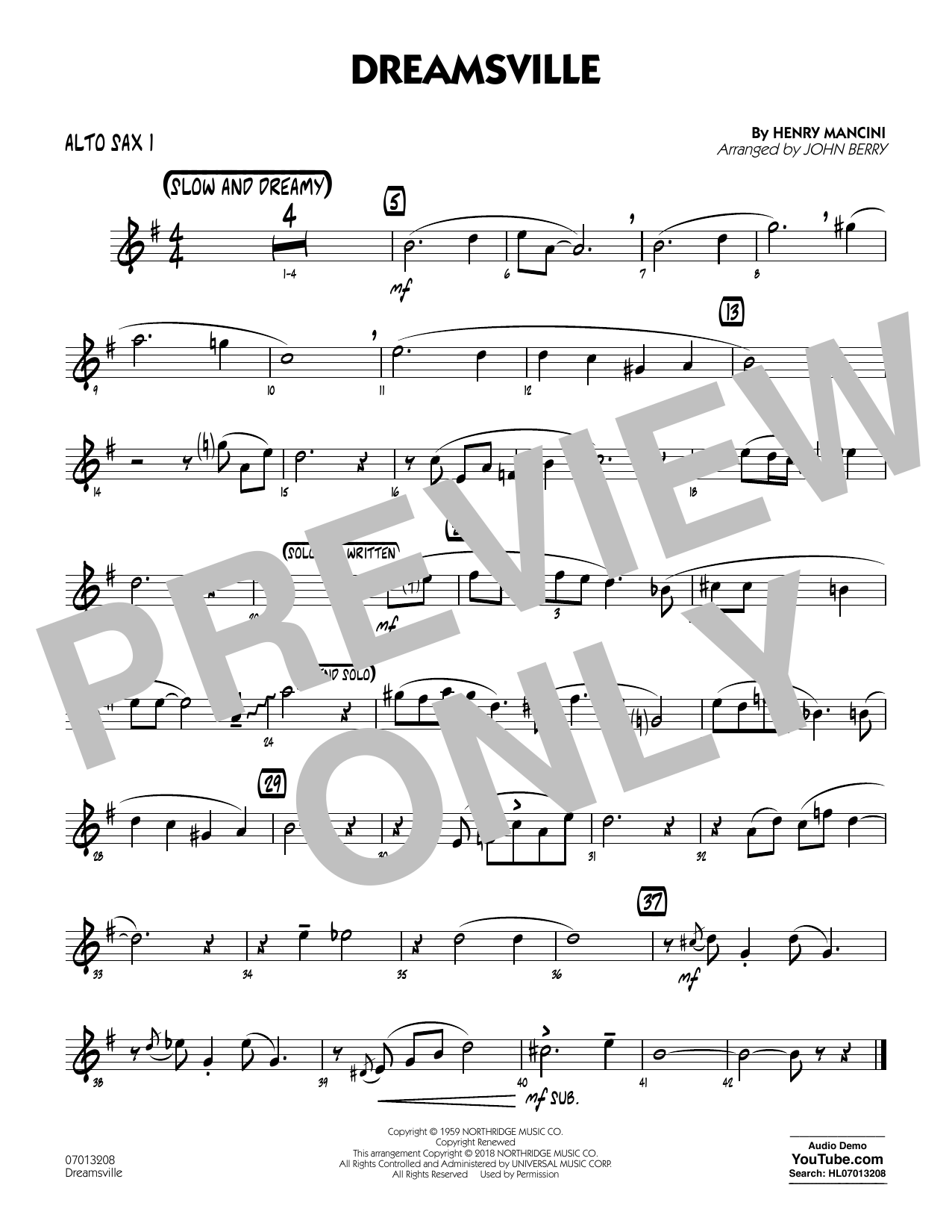 John Berry Dreamsville - Alto Sax 1 sheet music notes and chords. Download Printable PDF.