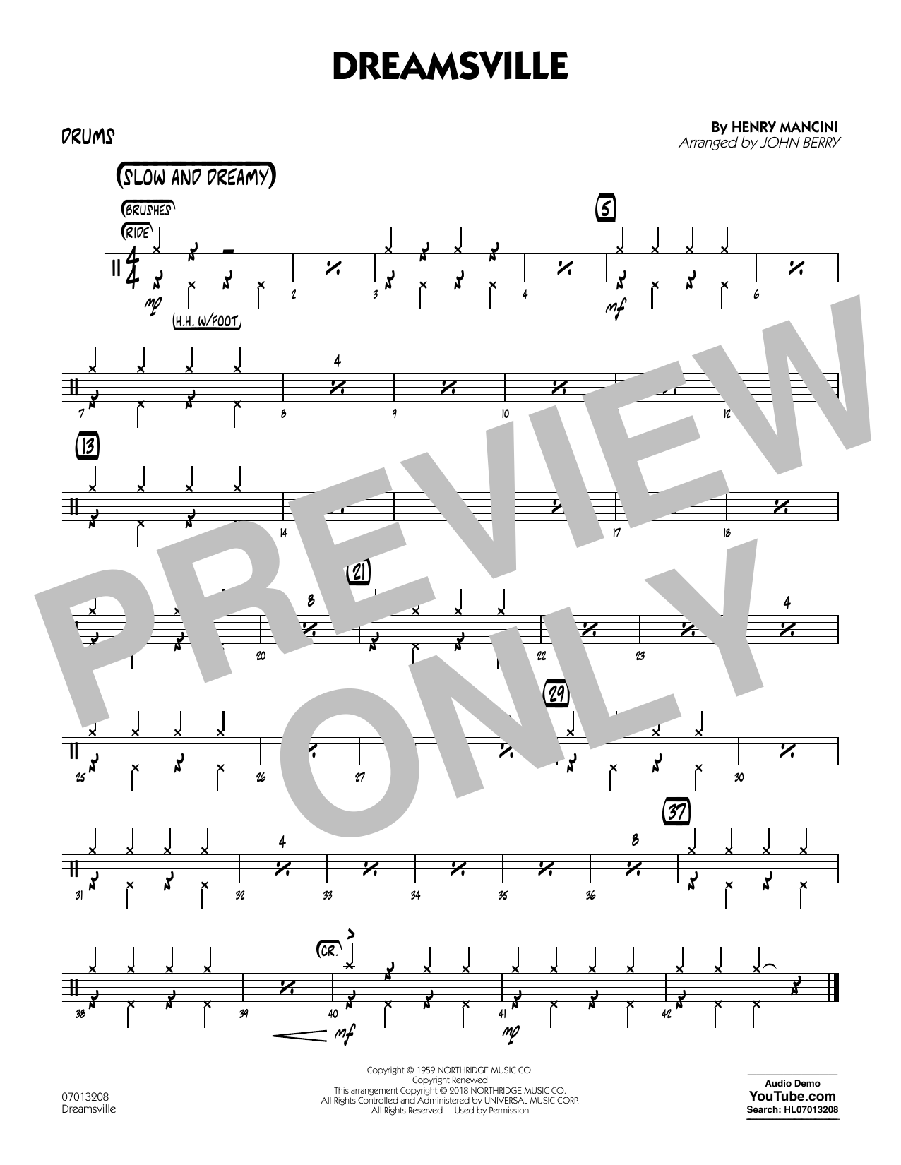 John Berry Dreamsville - Drums sheet music notes and chords. Download Printable PDF.