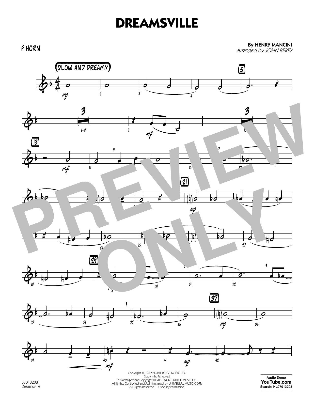 John Berry Dreamsville - F Horn sheet music notes and chords. Download Printable PDF.