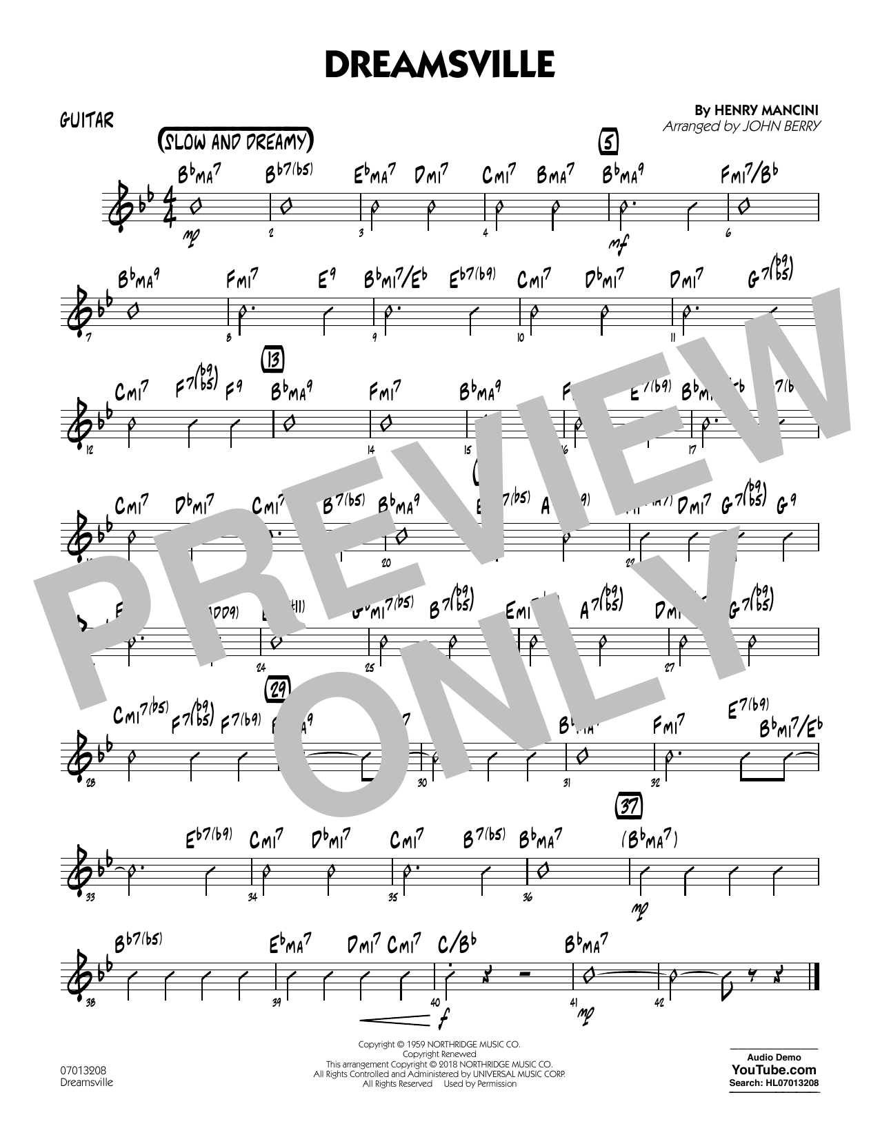 John Berry Dreamsville - Guitar sheet music notes and chords. Download Printable PDF.