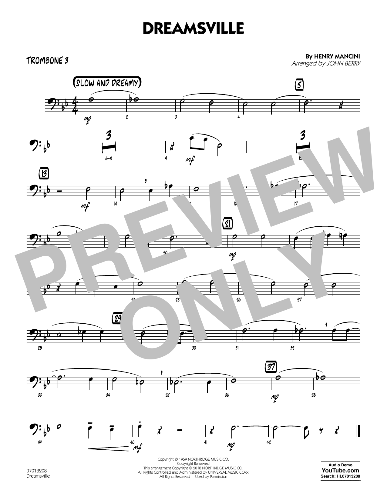 John Berry Dreamsville - Trombone 3 sheet music notes and chords. Download Printable PDF.