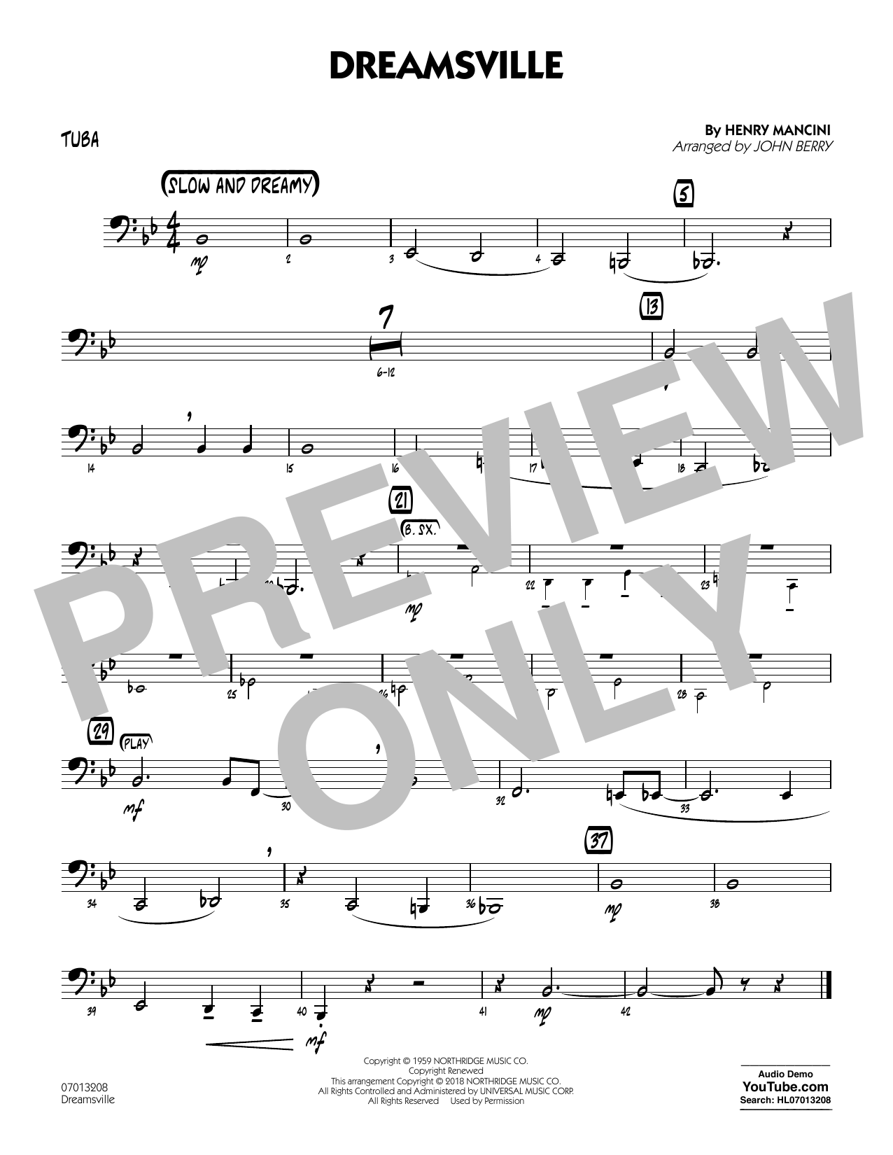 John Berry Dreamsville - Tuba sheet music notes and chords. Download Printable PDF.
