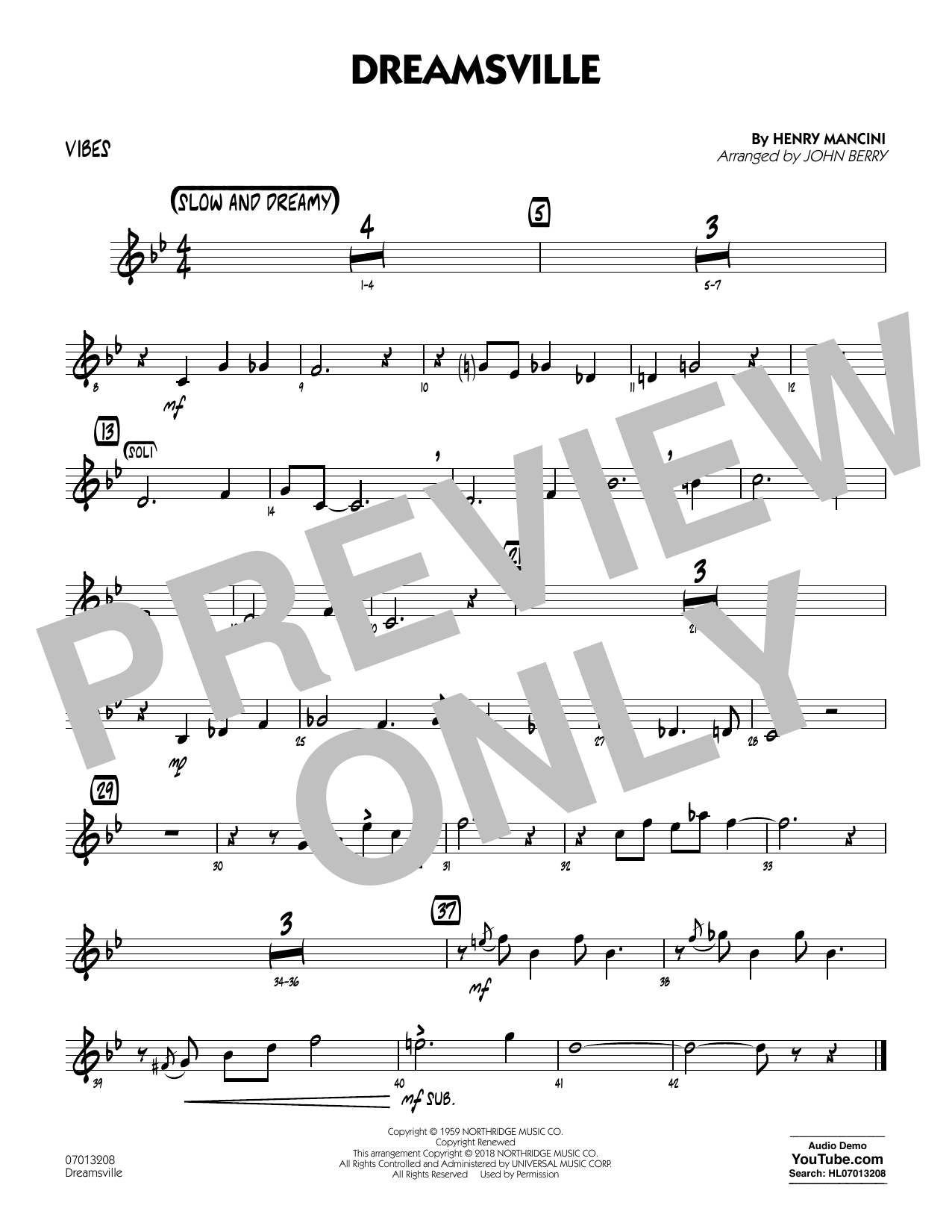 John Berry Dreamsville - Vibes sheet music notes and chords. Download Printable PDF.