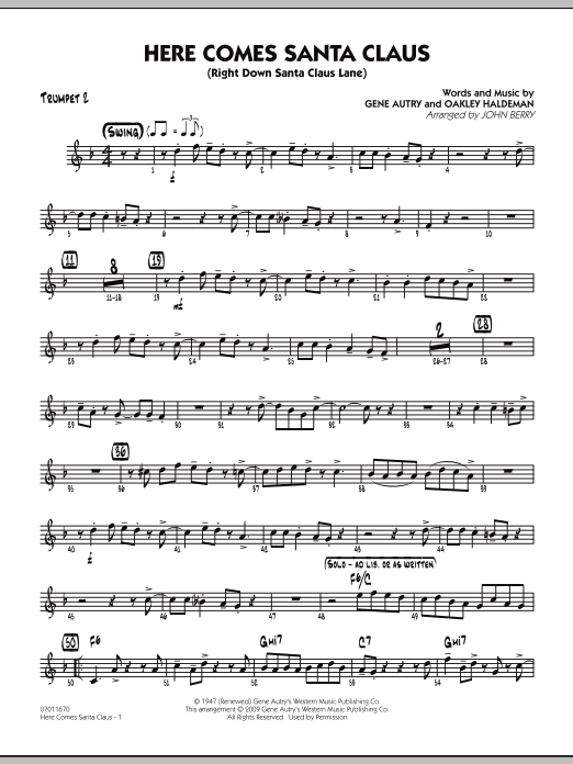 John Berry Here Comes Santa Claus (Right Down Santa Claus Lane) - Trumpet 2 sheet music notes and chords. Download Printable PDF.