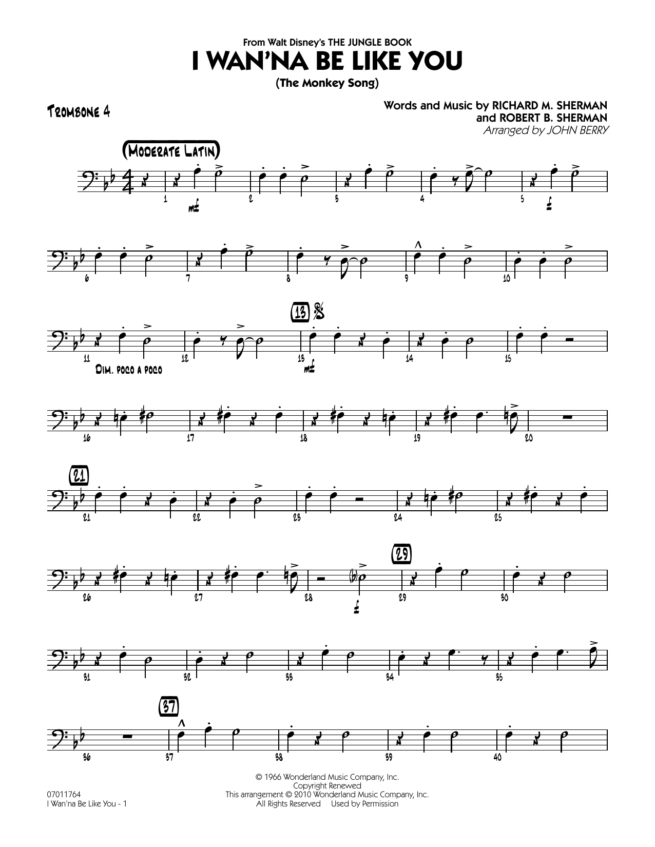 John Berry I Wan Na Be Like You The Monkey Song Trombone 4 Sheet Music Pdf Notes Chords Latin Score Jazz Ensemble Download Printable Sku 293130