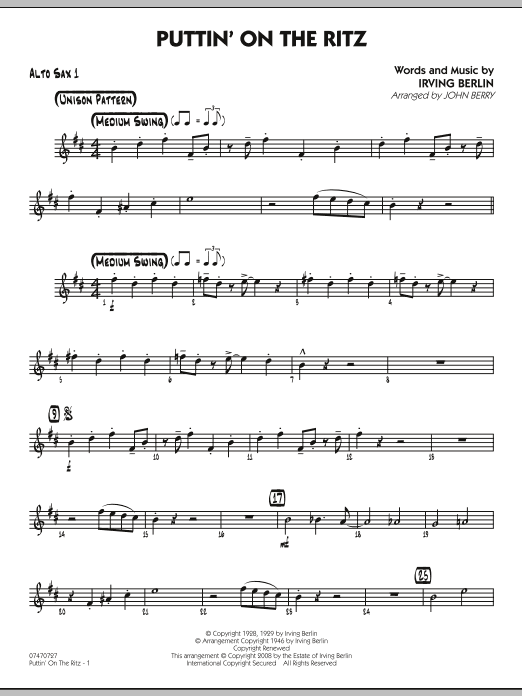 John Berry Puttin' On The Ritz - Alto Sax 1 sheet music notes and chords