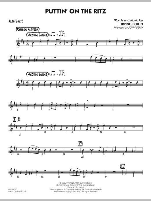 John Berry Puttin' On The Ritz - Alto Sax 2 sheet music notes and chords
