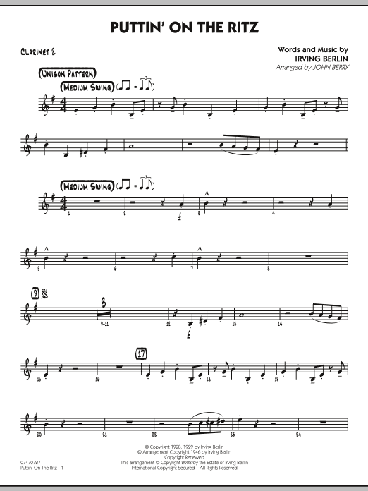 John Berry Puttin' On The Ritz - Bb Clarinet 2 sheet music notes and chords. Download Printable PDF.