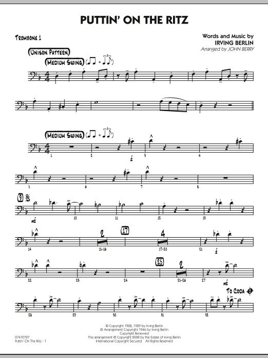 John Berry Puttin' On The Ritz - Trombone 1 sheet music notes and chords