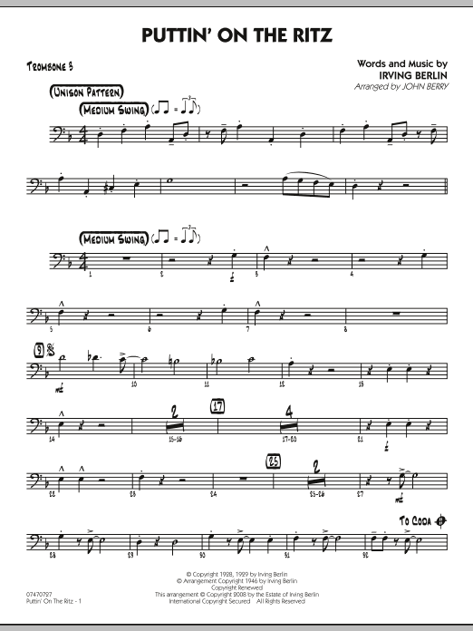 John Berry Puttin' On The Ritz - Trombone 3 sheet music notes and chords