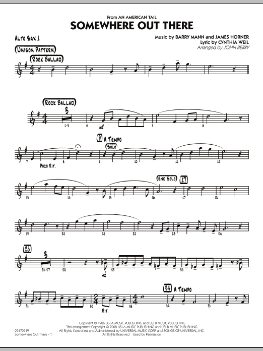 John Berry Somewhere Out There - Alto Sax 1 sheet music notes and chords