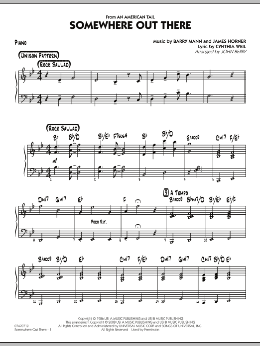 John Berry Somewhere Out There - Piano sheet music notes and chords