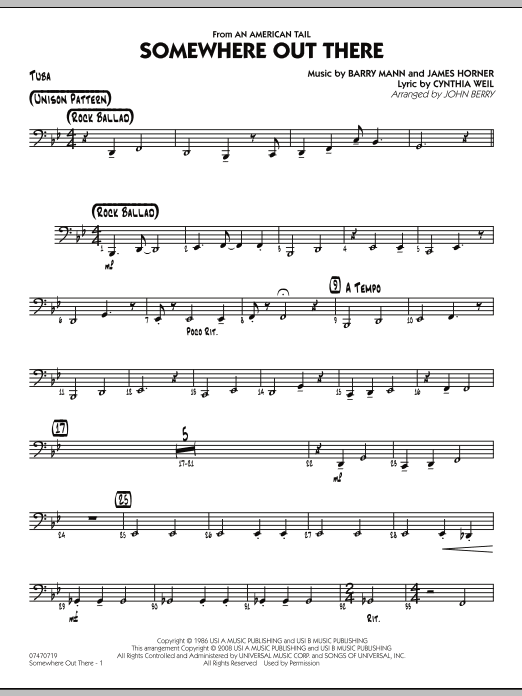 John Berry Somewhere Out There - Tuba sheet music notes and chords. Download Printable PDF.