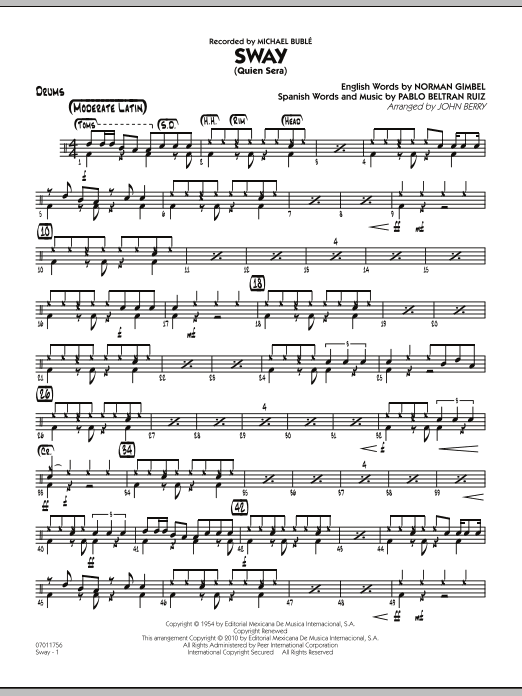 John Berry Sway (Quien Sera) - Drums sheet music notes and chords. Download Printable PDF.