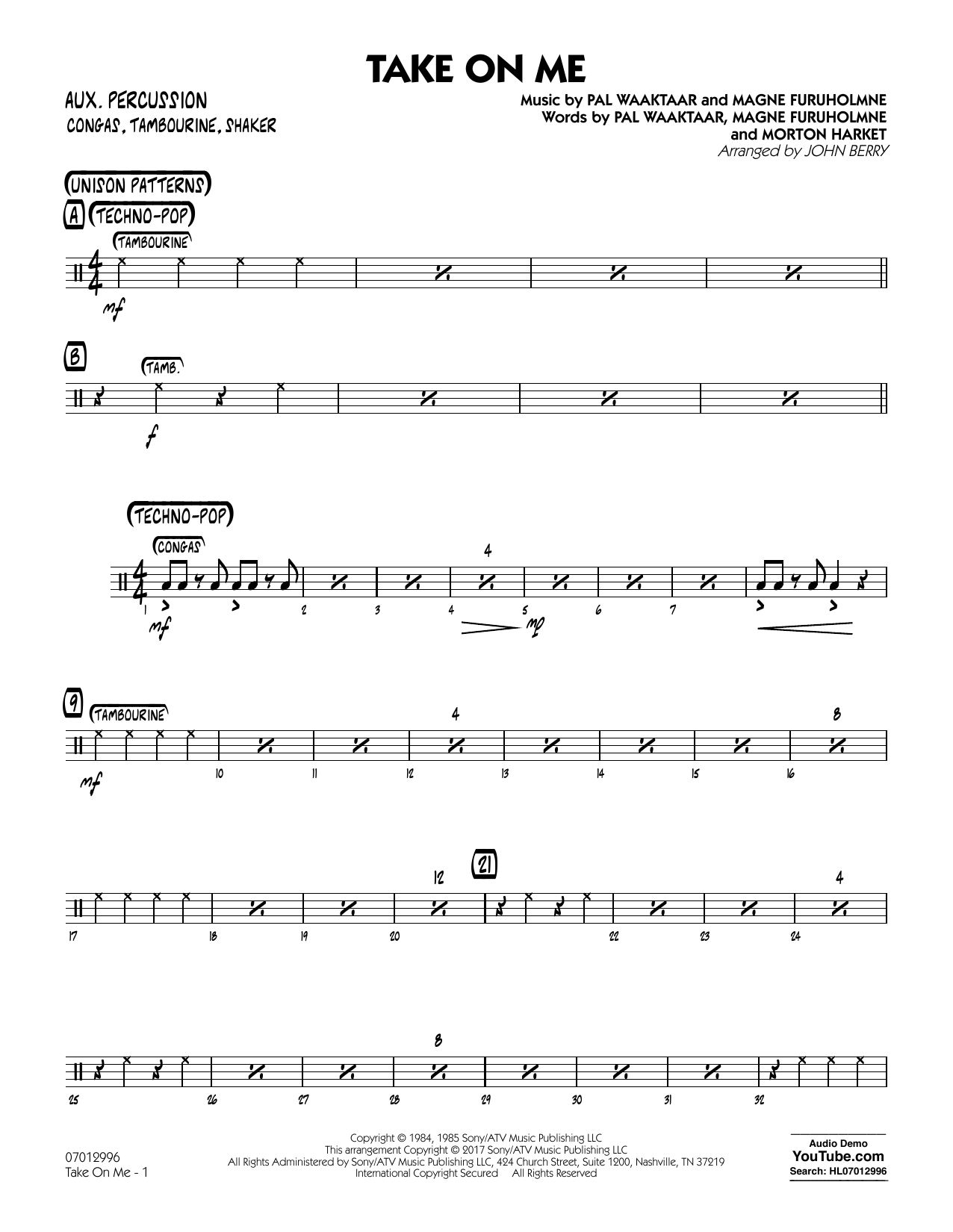 John Berry Take on Me - Aux Percussion sheet music notes and chords. Download Printable PDF.