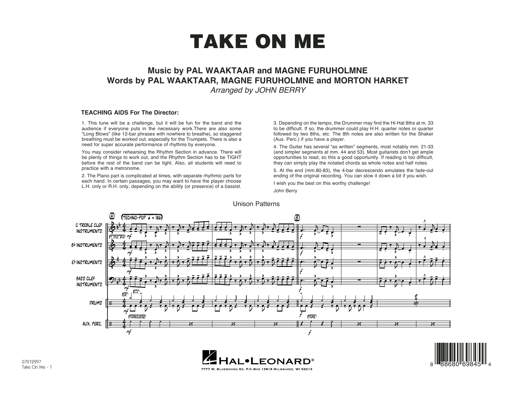 John Berry Take on Me - Conductor Score (Full Score) sheet music notes and chords. Download Printable PDF.