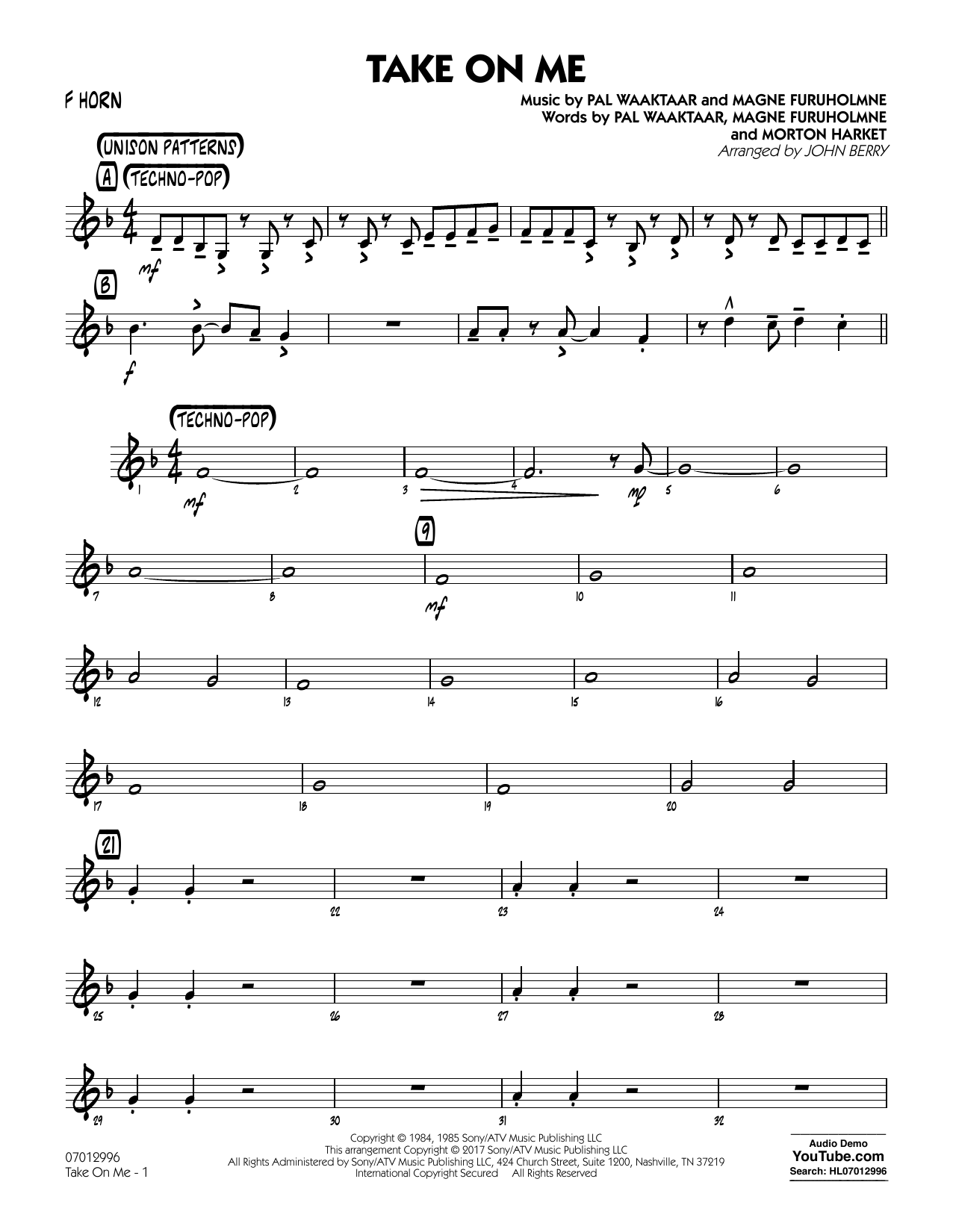 John Berry Take on Me - F Horn sheet music notes and chords. Download Printable PDF.