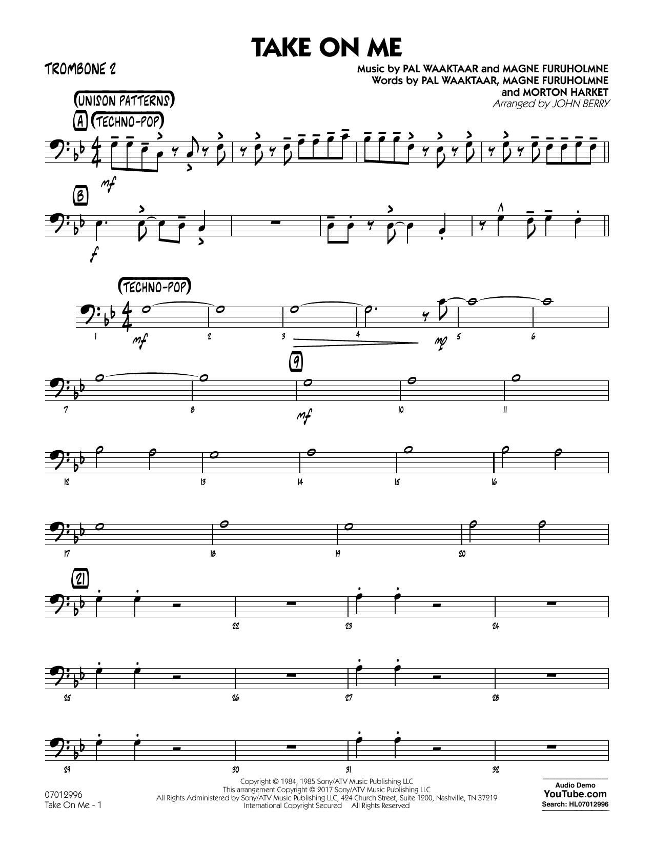 John Berry Take on Me - Trombone 2 sheet music notes and chords. Download Printable PDF.