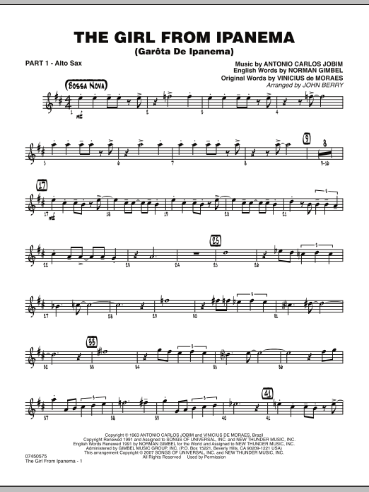 John Berry The Girl From Ipanema (Garota De Ipanema) - Part 1 - Eb Alto Sax sheet music notes and chords. Download Printable PDF.