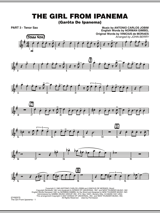 John Berry The Girl From Ipanema (Garota De Ipanema) - Part 3 - Bb Tenor Sax sheet music notes and chords. Download Printable PDF.