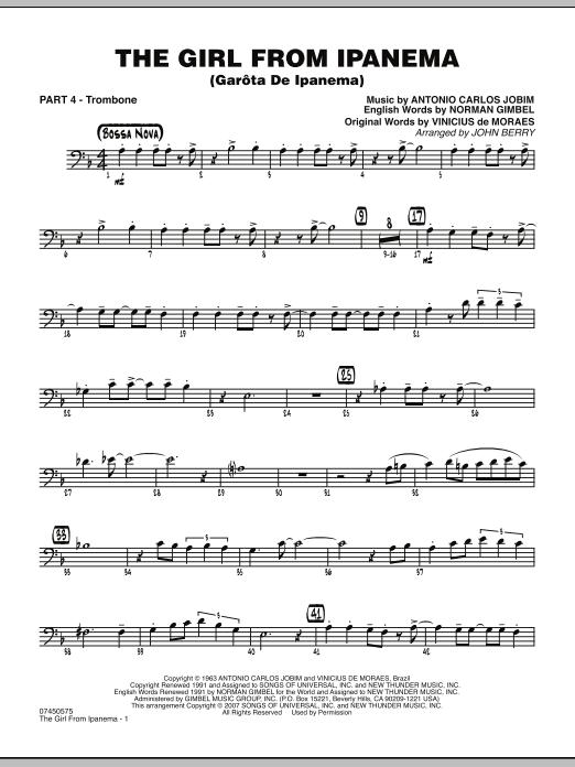 John Berry The Girl From Ipanema (Garota De Ipanema) - Part 4 - Trombone sheet music notes and chords. Download Printable PDF.