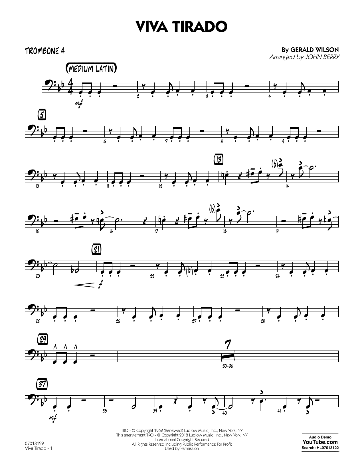 John Berry Viva Tirado - Trombone 4 sheet music notes and chords. Download Printable PDF.