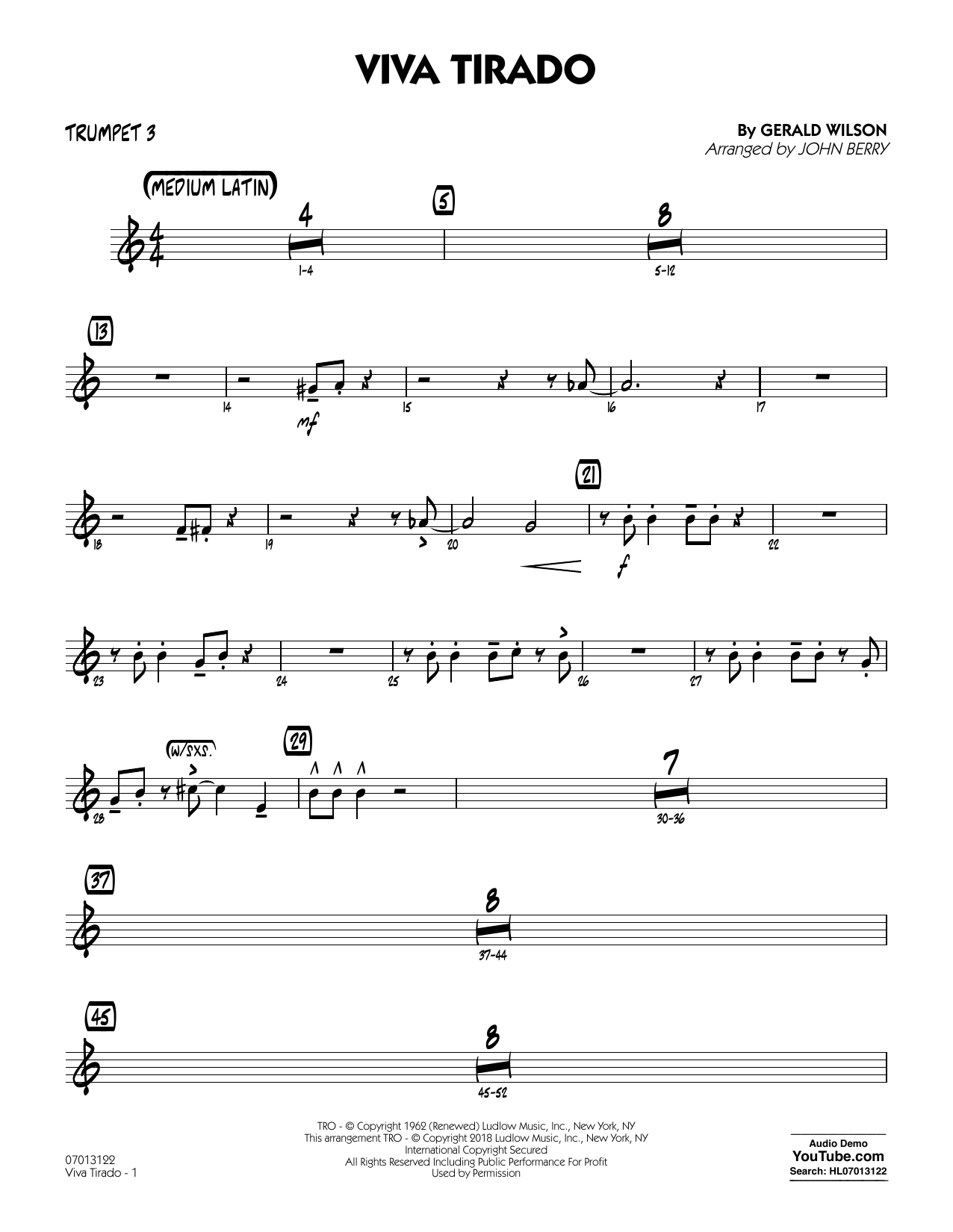 John Berry Viva Tirado - Trumpet 3 sheet music notes and chords. Download Printable PDF.