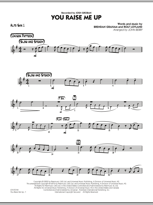 John Berry You Raise Me Up - Alto Sax 1 sheet music notes and chords