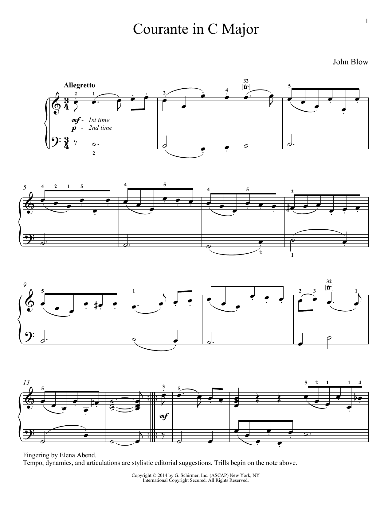 John Blow Courante sheet music notes and chords. Download Printable PDF.