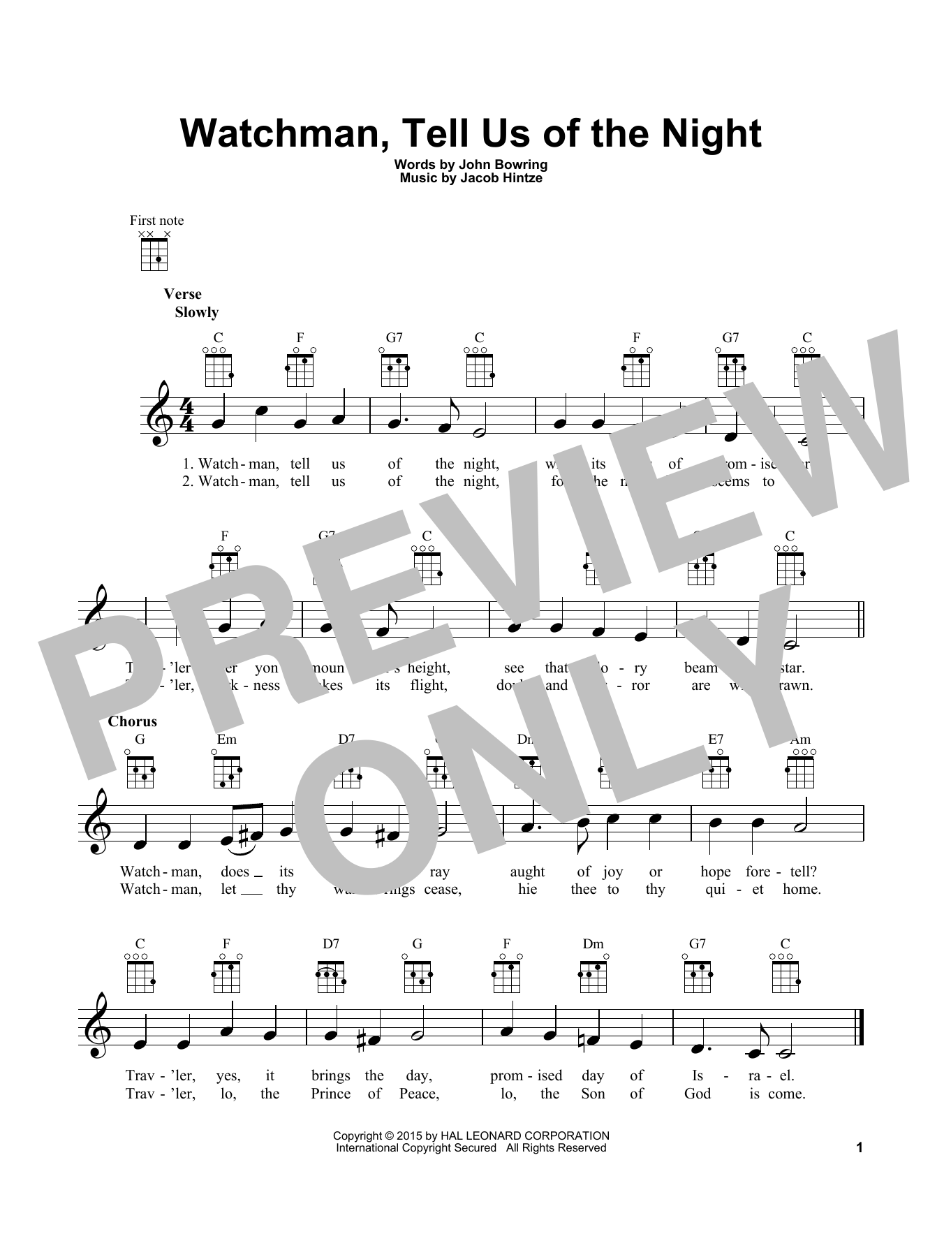 John Bowring Watchman, Tell Us Of The Night sheet music notes and chords. Download Printable PDF.
