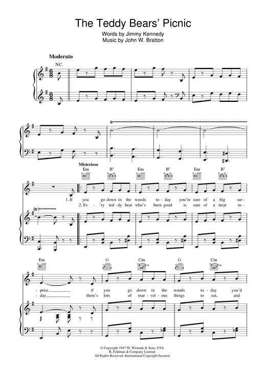 John Bratton The Teddy Bears' Picnic sheet music notes and chords. Download Printable PDF.