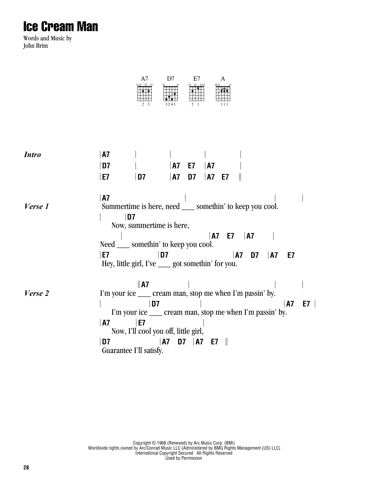 John Brim Ice Cream Man sheet music notes and chords