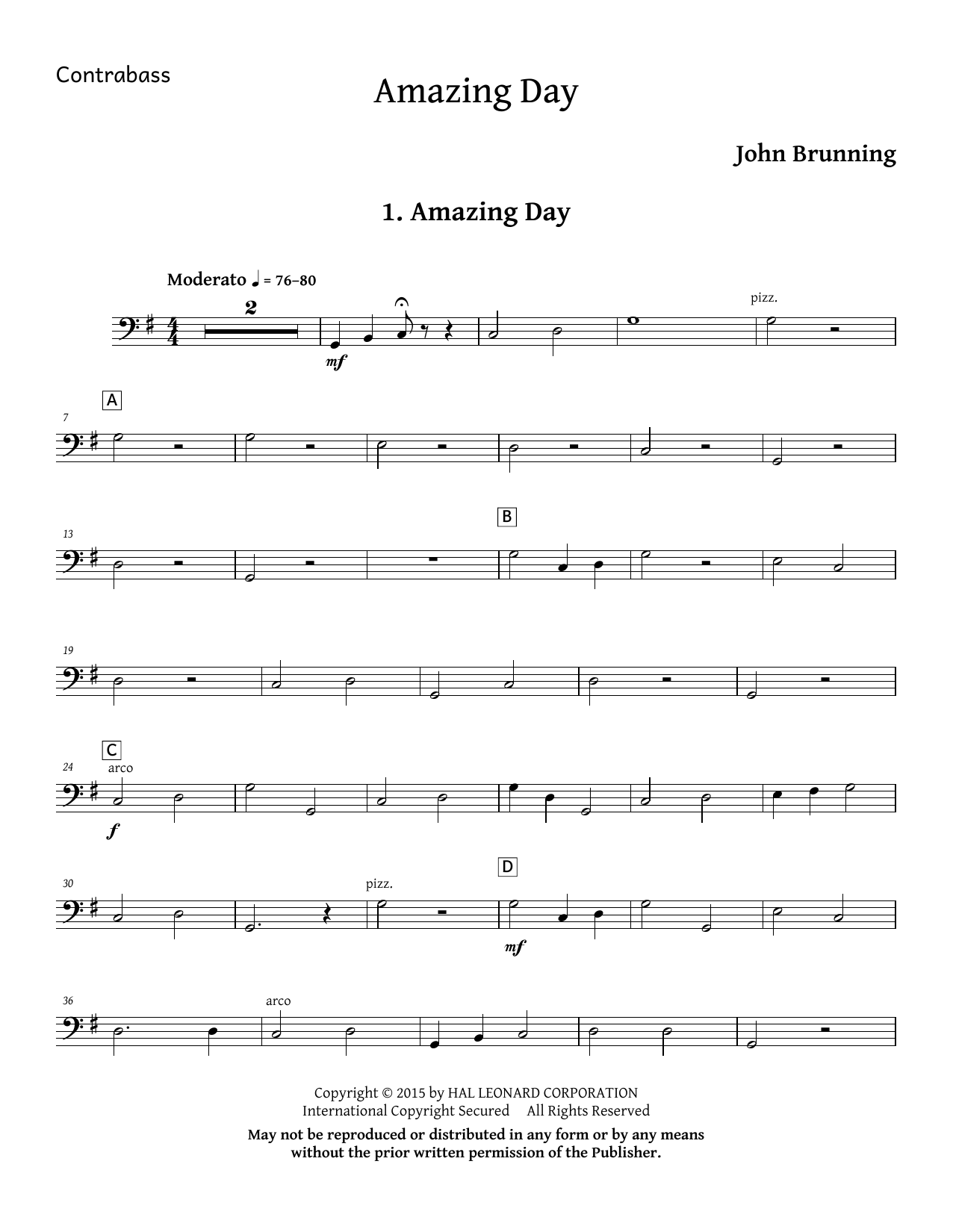 John Brunning Amazing Day - Double Bass sheet music notes and chords. Download Printable PDF.