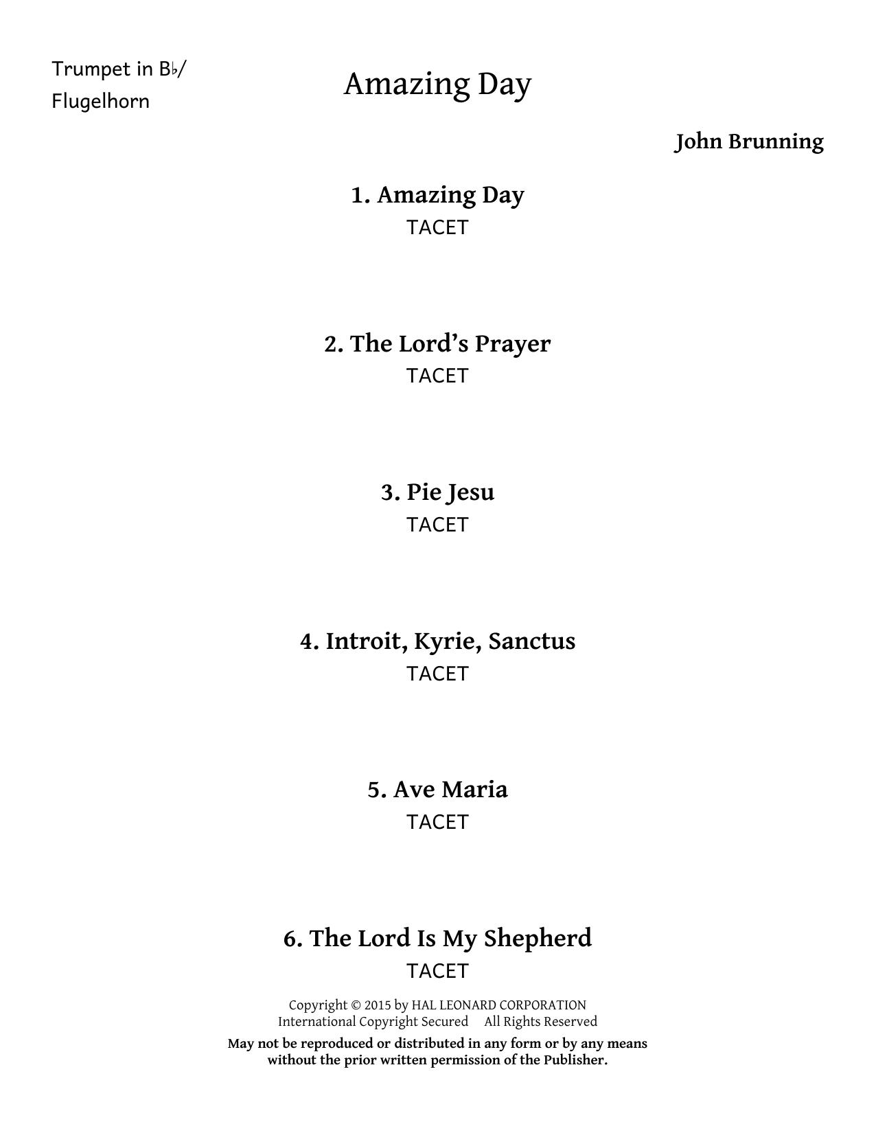 John Brunning Amazing Day - Trumpet/Flugelhorn sheet music notes and chords. Download Printable PDF.