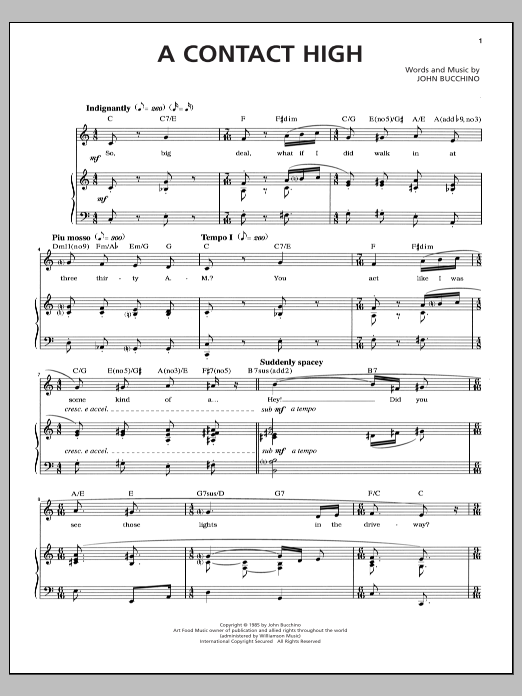 John Bucchino A Contact High sheet music notes and chords. Download Printable PDF.