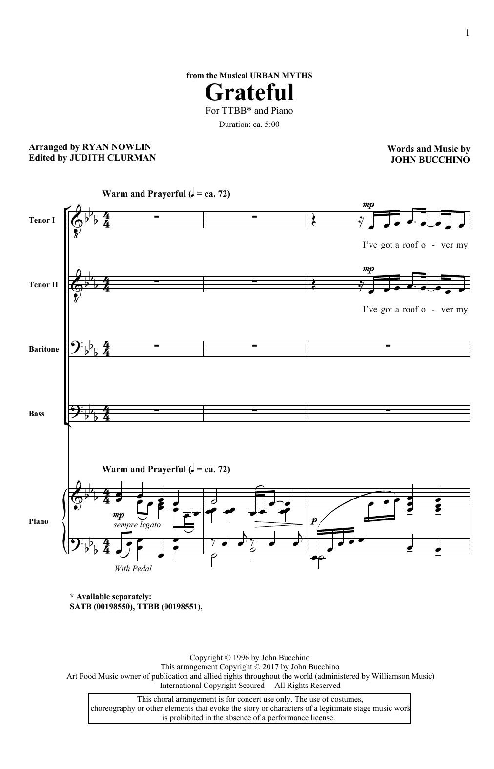 John Bucchino Grateful sheet music notes and chords. Download Printable PDF.