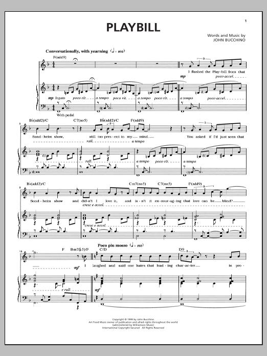 John Bucchino Playbill sheet music notes and chords. Download Printable PDF.