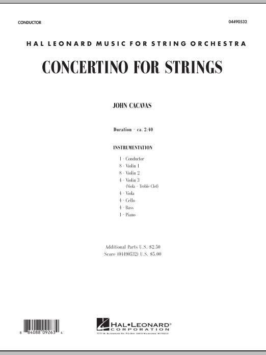 John Cacavas Concertino For Strings - Full Score sheet music notes and chords. Download Printable PDF.