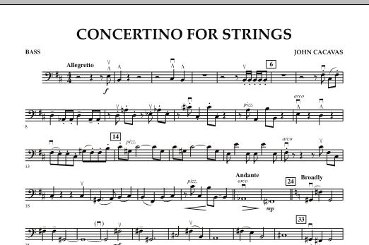 John Cacavas Concertino For Strings - String Bass sheet music notes and chords. Download Printable PDF.