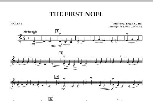 John Cacavas The First Noel - Violin 2 sheet music notes and chords. Download Printable PDF.