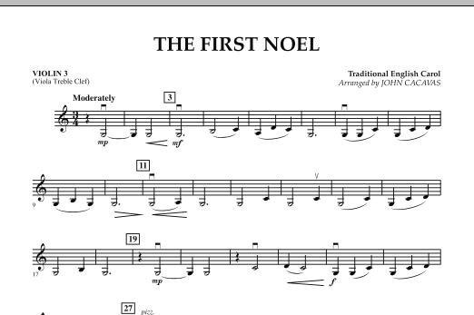 John Cacavas The First Noel - Violin 3 (Viola T.C.) sheet music notes and chords. Download Printable PDF.