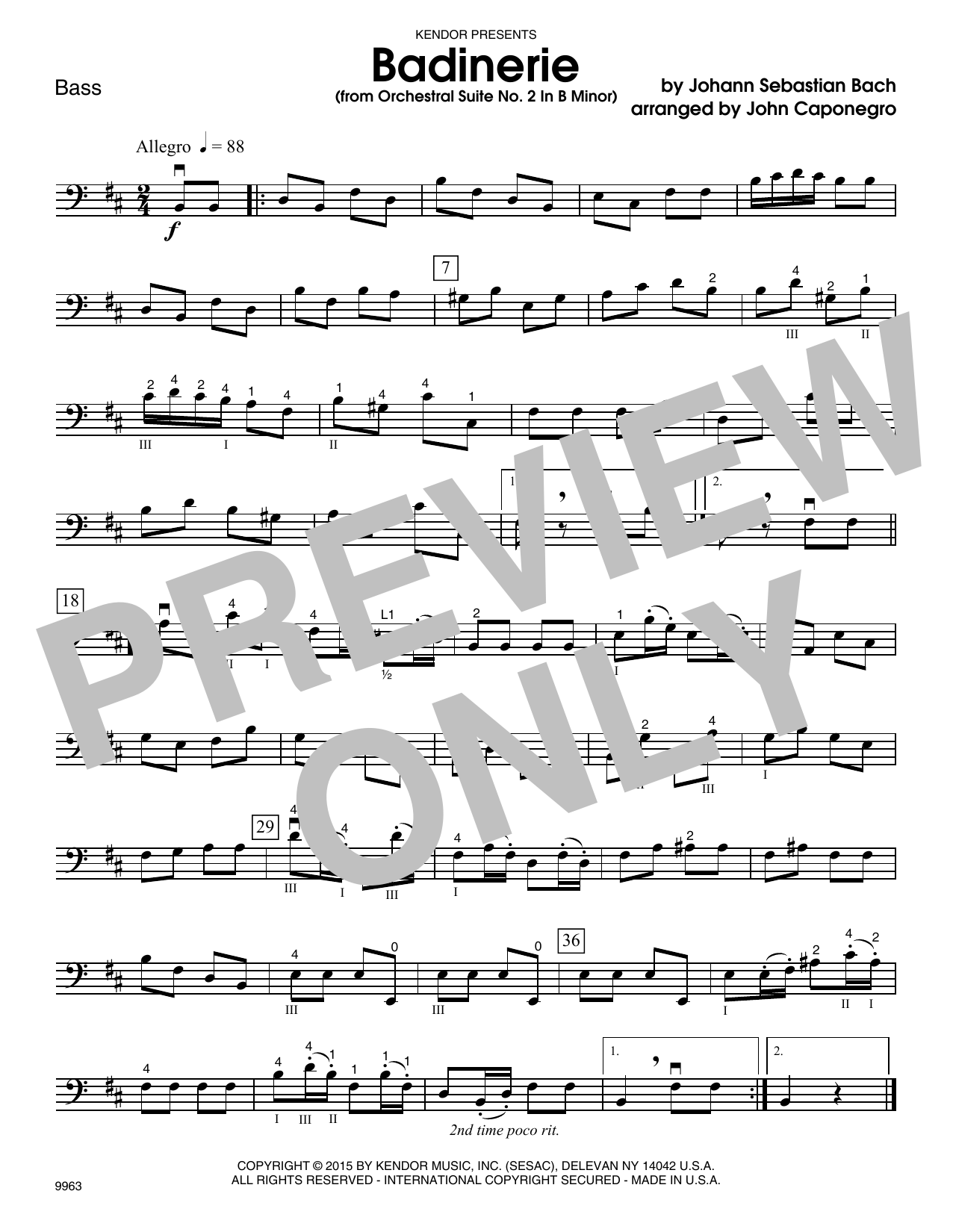 John Caponegro Badinerie (from Orchestral Suite No. 2 In B Minor) - Bass sheet music notes and chords. Download Printable PDF.
