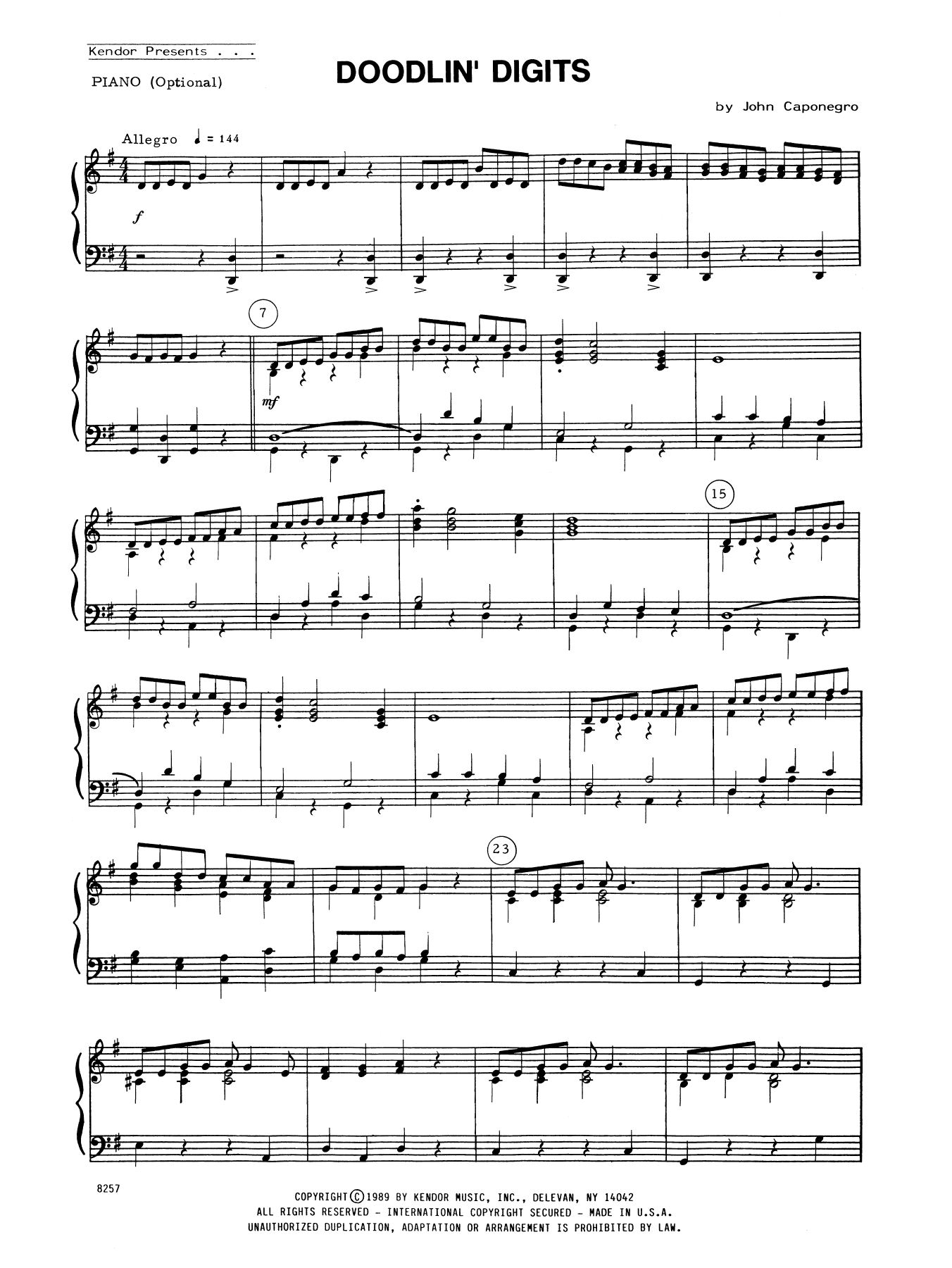 John Caponegro Doodlin' Digits - Piano Accompaniment sheet music notes and chords. Download Printable PDF.