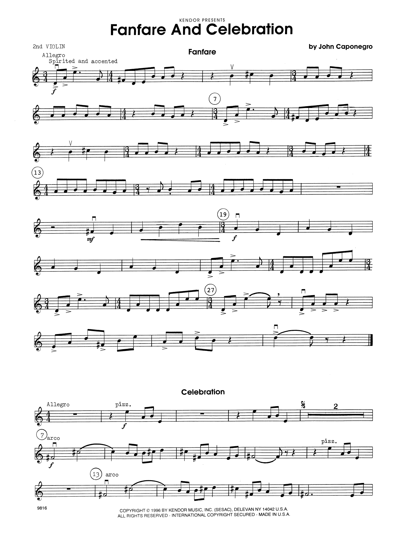 John Caponegro Fanfare and Celebration - 2nd Violin sheet music notes and chords. Download Printable PDF.