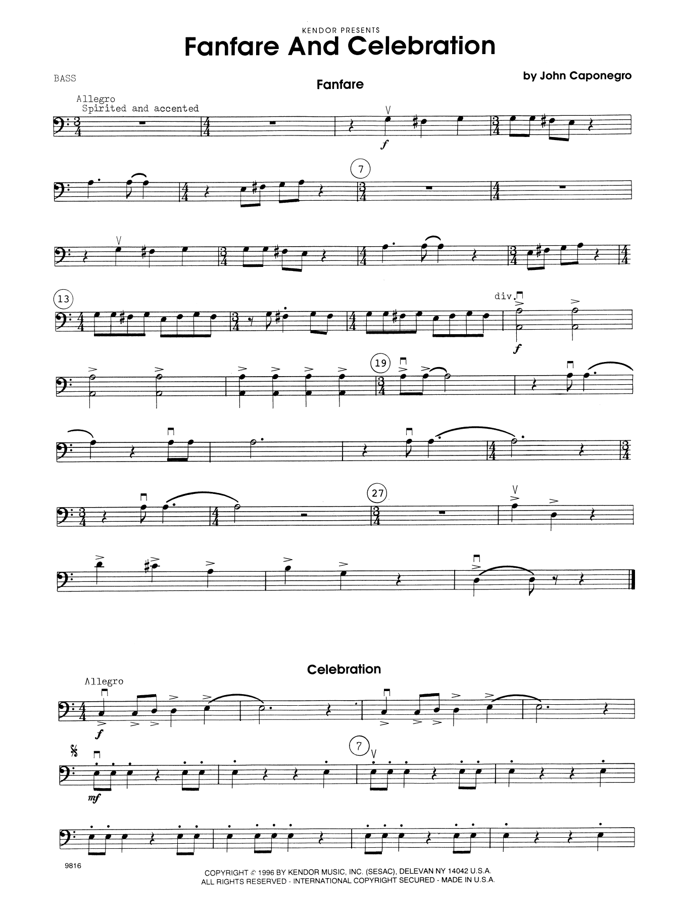 John Caponegro Fanfare and Celebration - Bass sheet music notes and chords. Download Printable PDF.