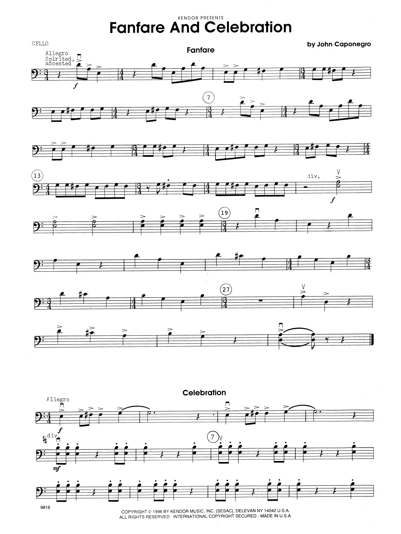 John Caponegro Fanfare and Celebration - Cello sheet music notes and chords. Download Printable PDF.