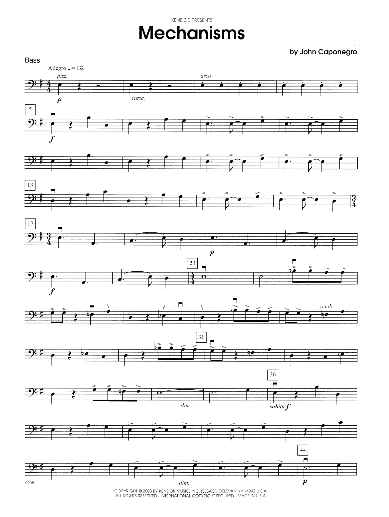 John Caponegro Mechanisms - Bass sheet music notes and chords. Download Printable PDF.
